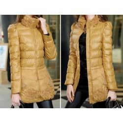 Jaqueta Casaco Longo feminino Inverno couro acolchoado