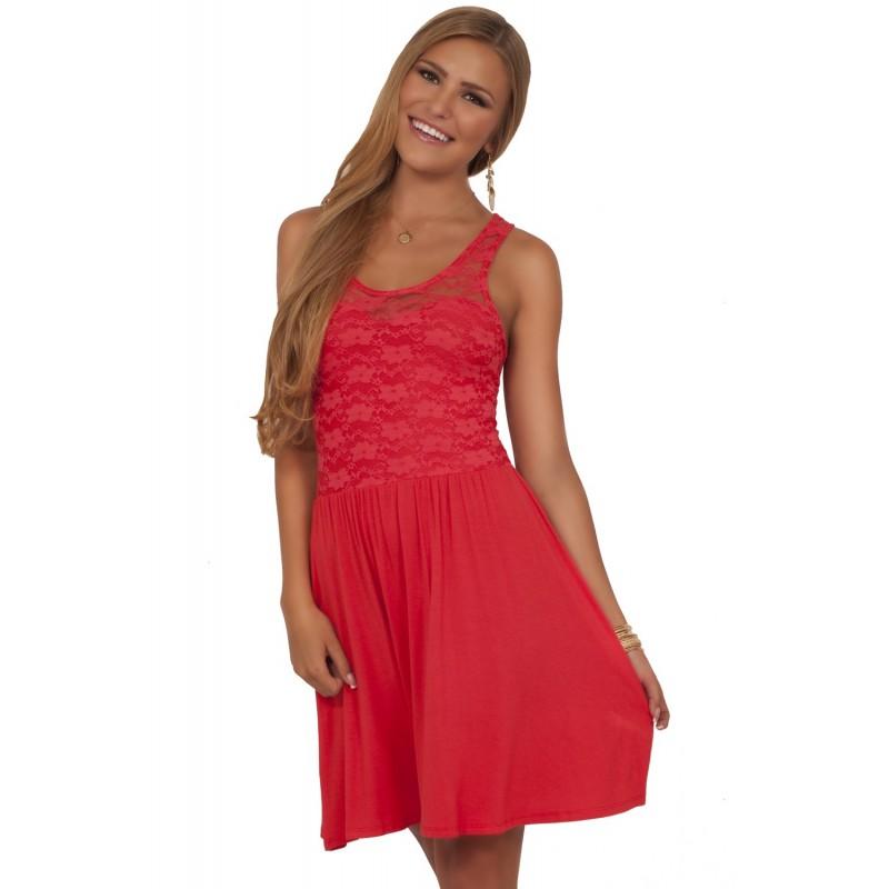 Vestido Casual Verão Coral com Renda