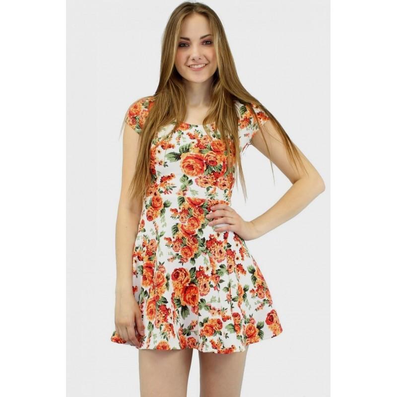 Vestido Estampado Floral Colorido Curto Importado