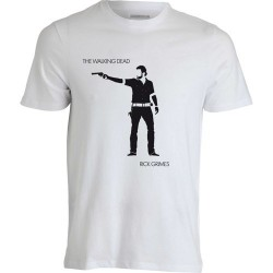Camiseta Masculina Série The Walking Dead Rick Branca