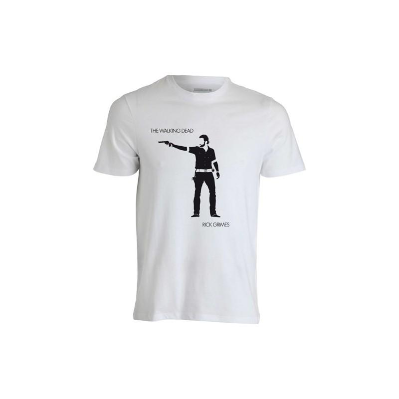 Camiseta Masculina Série The Walking Dead Rick Branca