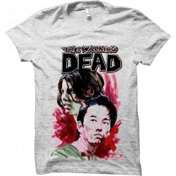 Camiseta Feminina Cinza Série The Walking Dead Maggie e Glenn