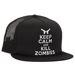 Boné Trucker Série The Walking Dead Preto Keep Calm And Kill Zombies