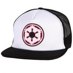 Boné Trucker Saga Star Wars Logo Império Aba Reta Preto e Branco