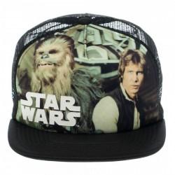 Boné Trucker Saga Star Wars Han & Chewie Aba Reta Preto