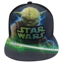 Boné Saga Star Wars Aba Reta Mestre Yoda com Sabre de Luz Preto