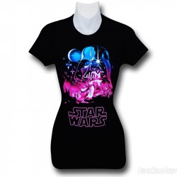 Camiseta Blusinha Feminina Star Wars Preta Darth Vader