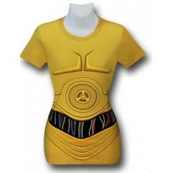 Camiseta Blusinha Feminina Star Wars C3PO Amarela