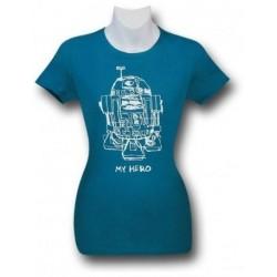 Camiseta Blusinha Feminina Star Wars R2D2 Meu Herói Azul