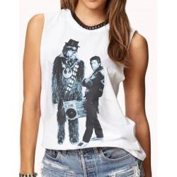 Regata Feminina Star Wars Chewbacca & Han Solo Branca