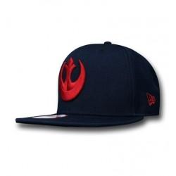 Boné Star Wars Símbolo Aliança Rebelde Vermelho e Preto Aba Reta