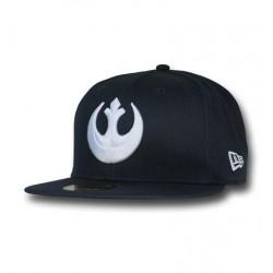 Boné Star Wars Símbolo Aliança Rebelde Branco e Preto Aba Reta