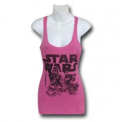 Blusa Regata Feminina Personagens Star Wars Rosa