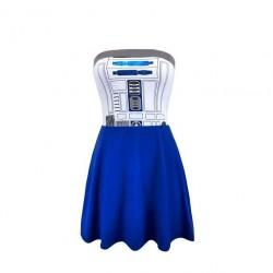 Vestido Adulto Star Wars Robô R2D2 Saia Azul