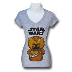 Camiseta Blusa Feminina Star Wars Mini Chewie Cinza
