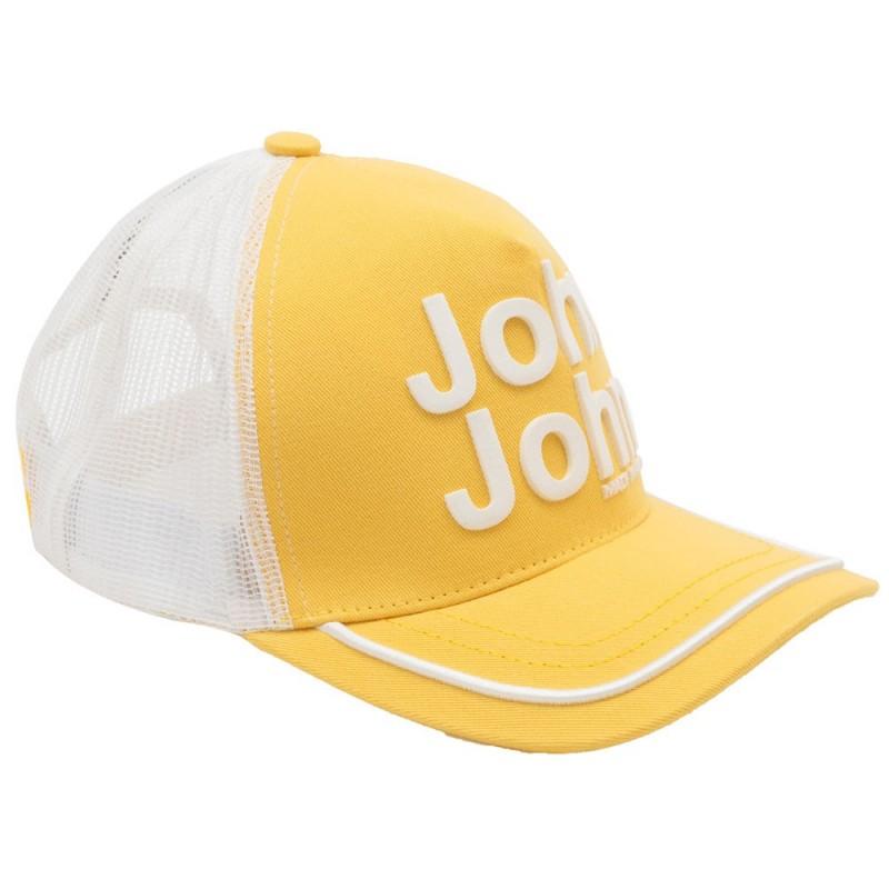 Boné John John Clássico Amarelo e Branco logo em relevo