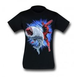 Camiseta Masculina Deadpool Geek Tubarão Preta