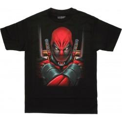 Camiseta Masculina Adulto Deadpool Marvel Preta Armas Cruzadas