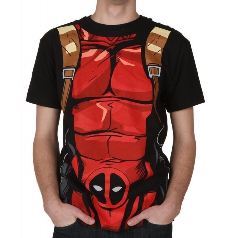 Camiseta Masculina Adulto Deadpool Marvel Preta Abdomem