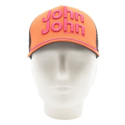 Boné John John Clássico Branco e Laranja logo em relevo