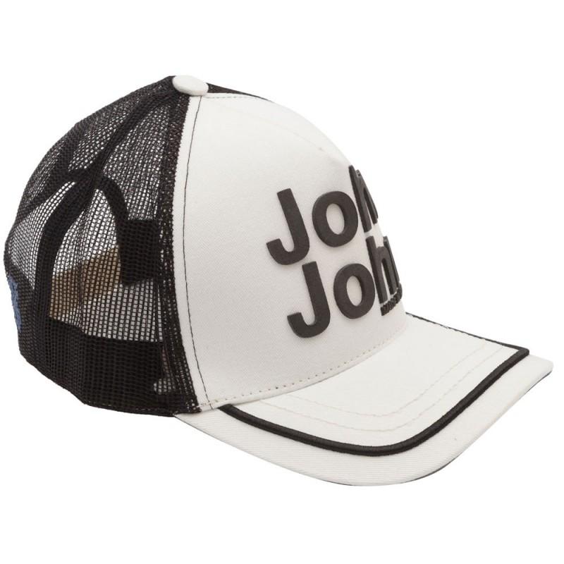 Boné John John Clássico Preto e Branco logo em relevo