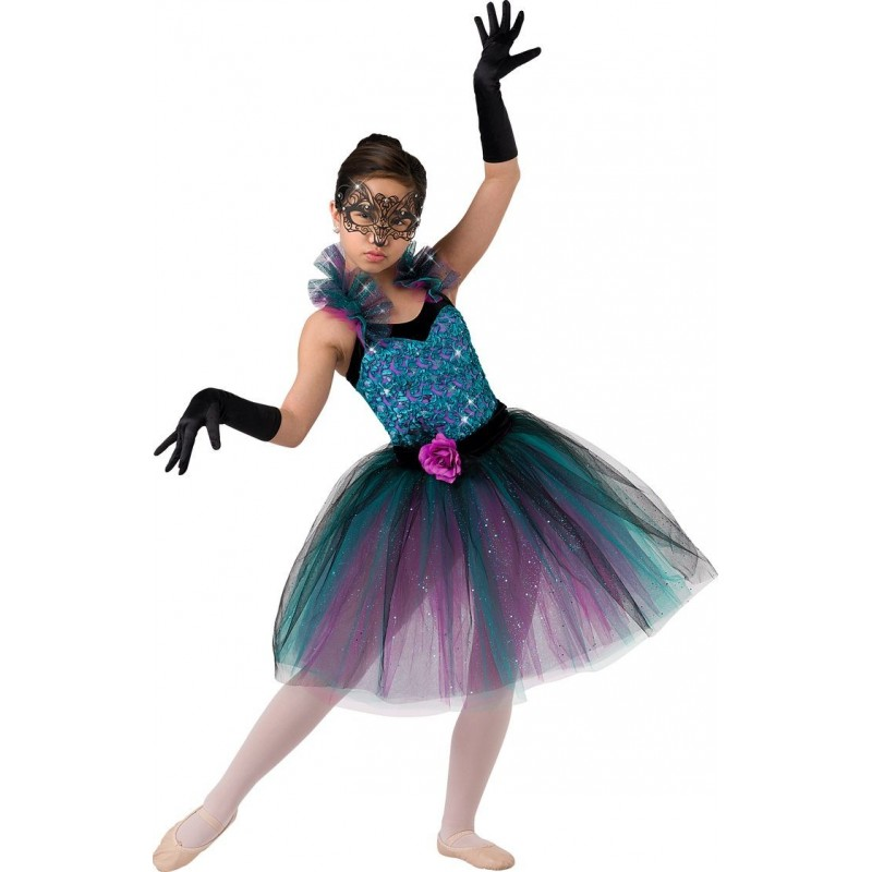 cffd3c6c4a3 Traje Fantasia Infantil Bailarina Azul e Rosa Veneziana Halloween Carnaval
