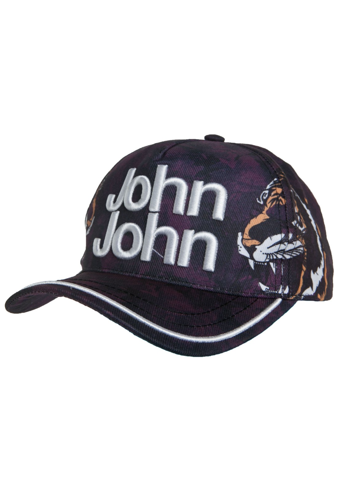 Boné John John Tigre Roxo Tiger Logo em relevo 9d03a944568