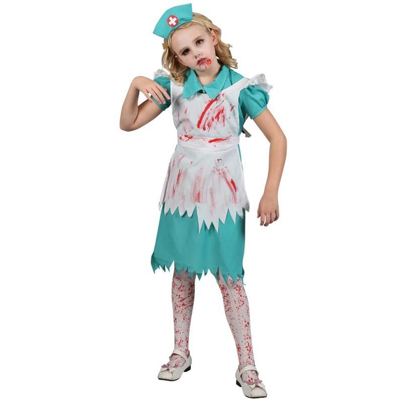 Fantasia Infantil Enfermeira Zumbi Halloween Carnaval