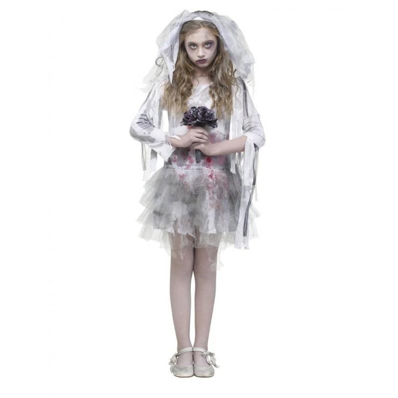 Fantasia Infantil De Noiva Zumbi Terror Halloween Carnaval