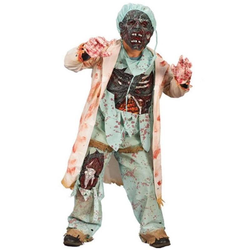 Fantasia Infantil De Zumbi Medico Halloween Carnaval