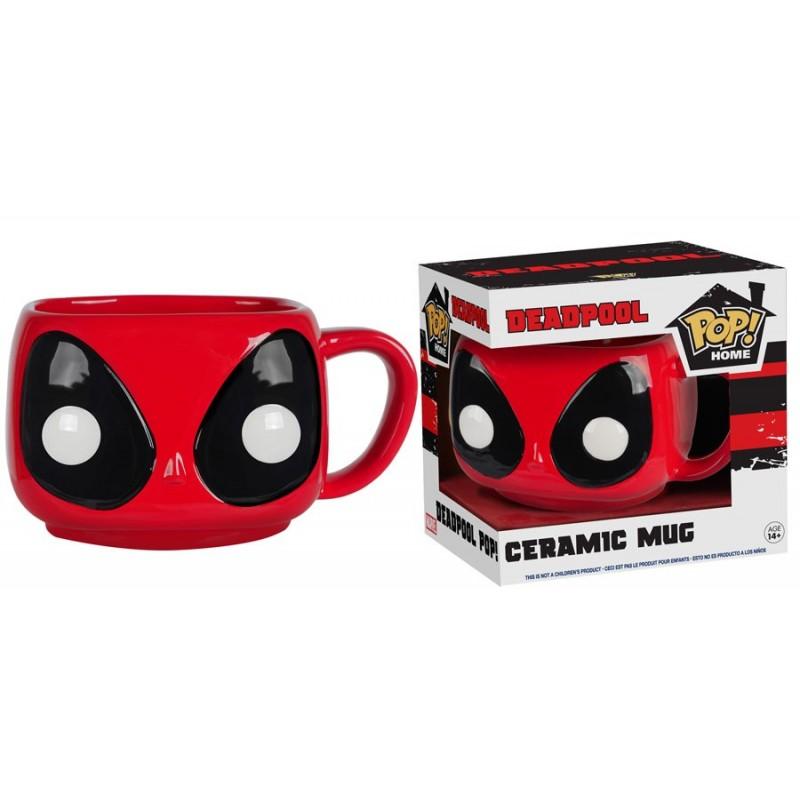 Caneca de Café Cerâmica Deadpool Marvel Preta e Vermelha