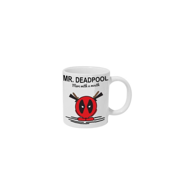 Caneca de Café Cerâmica Deadpool Marvel cor Branca
