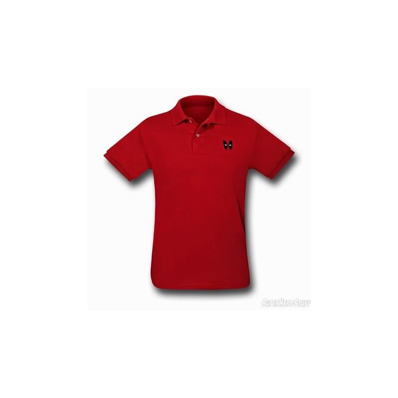 Camisa Polo Masculina Olhos Deadpool Vermelha Marvel