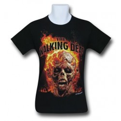 Camiseta Masculina The Walking Dead Caveira Zumbi em Chamas