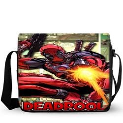 Bolsa Escolar Deadpool Estilo Carteiro Preta Estampada