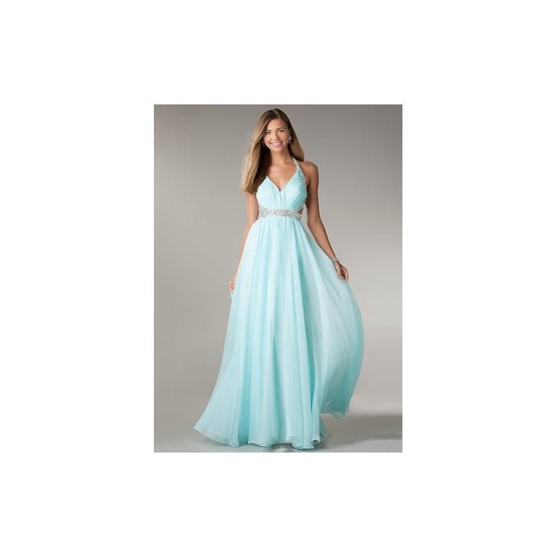 Vestido Festa Longo Chiffon Romano Azul Claro com Brilho