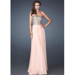 Vestido de Festa Longo Chiffon Rosa Top de Paetê
