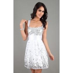 Vestido Curto Branco com Prata Festa Brilho com Alças