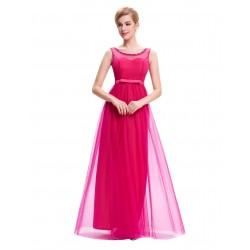 Vestido Longo de Festa Rosa Pink Tule Importado