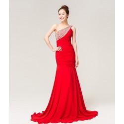 Vestido Longo Festa Vermelho Chiffon Sereia Brilho Importado