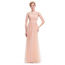 Vestido de Festa Longo Rosa Nude com Renda Importado