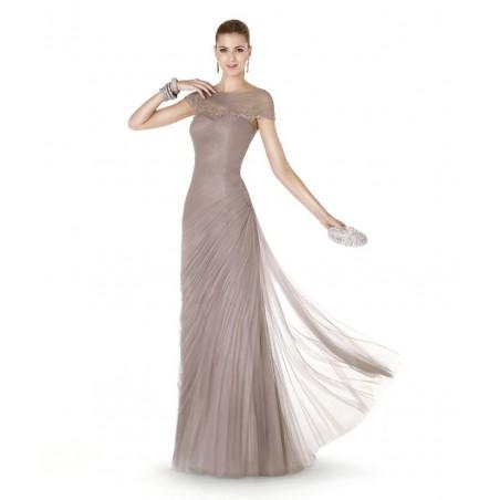 Vestido de Festa Longo Cinza Nude com Tule e Brilho Importado