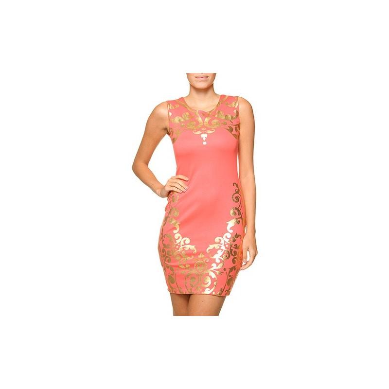 Vestido Coral curto estampa de  Arabescos Puramania