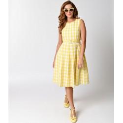 Vestido Festa Estilo Anos 50 Comprimento Médio Amarelo