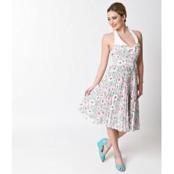 Vestido Flare Branco Estampa Floral Comprimento Médio Pregas