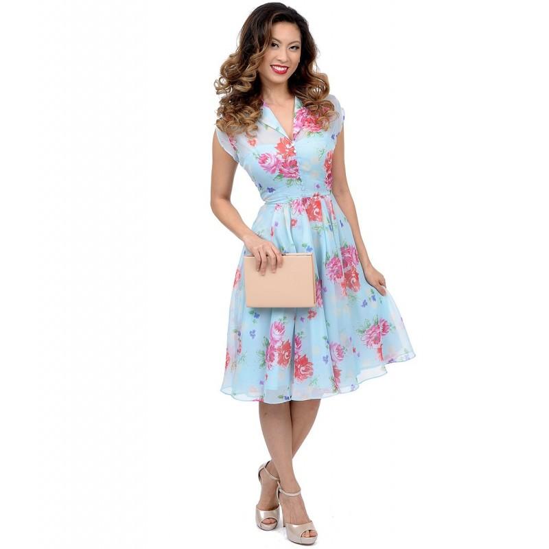 Vestido Flare Azul Chiffon Estampado Floral Comprimento Médio Godê