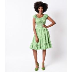 Vestido Verde Estampa Poá Comprimento Médio Godê Importado