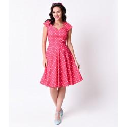 Vestido Rosa Pink Estampa Poá Comprimento Médio Godê Importado