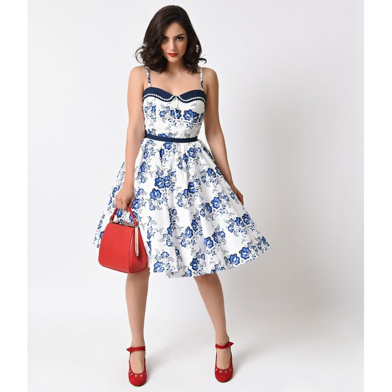 Vestido Branco E Azul Estampado Floral Comprimento Médio