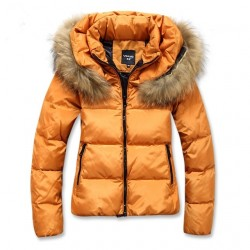 Jaqueta Acolchoada Laranja Inverno Elegante Importado